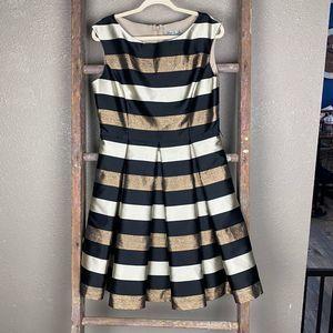 Eliza J Metallic Stripe Fit and Flare 12